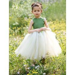Ball Gown Tea-length Flower Girl Dress - Satin/Tulle Sleeveless