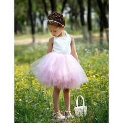 Ball Gown Knee Length Flower Girl Dress Satin Tulle Sleeveless