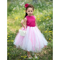 Ball Gown Tea Length Flower Girl Dress Satin Tulle Sleeveless