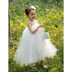Ball Gown Tea Length Flower Girl Dress Tulle Sleeveless