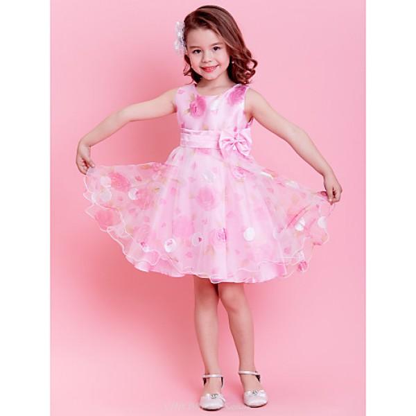 A-line/Princess Knee-length Flower Girl Dress - Organza Sleeveless Flower Girl Dresses