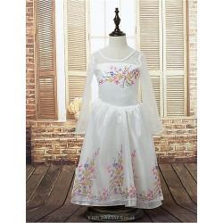 Ball Gown Floor Length Flower Girl Dress Satin Stretch Satin Long Sleeve