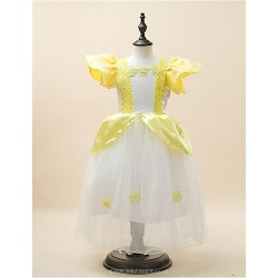 Ball Gown Floor Length Flower Girl Dress Satin Stretch Satin Short Sleeve