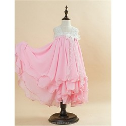 Ball Gown Tea-length Flower Girl Dress - Lace/Satin/Velet Chiffon Sleeveless