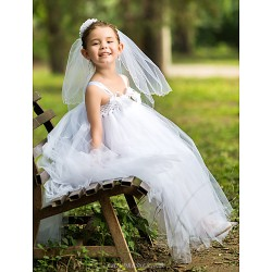 A-line Ankle-length Flower Girl Dress - Rayon