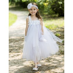 Ball Gown Ankle Length Flower Girl Dress Rayon