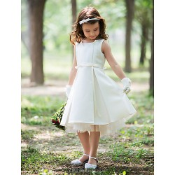 Sheath Column Knee Length Flower Girl Dress Silk