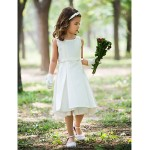 Sheath/Column Knee-length Flower Girl Dress - Silk Flower Girl Dresses