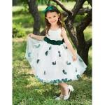 Ball Gown Tea-length Flower Girl Dress - Polyester Flower Girl Dresses
