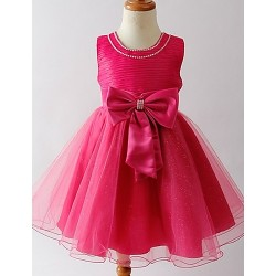 Flower Girl Dress Tea Length Satin Tulle A Line Sleeveless Dress