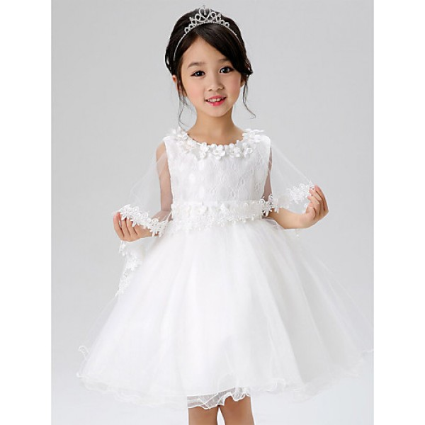 A-line Knee-length Flower Girl Dress - Lace / Polyester Sleeveless Flower Girl Dresses