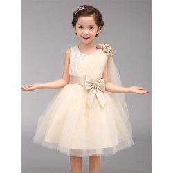 A Line Knee Length Flower Girl Dress Cotton Organza Sleeveless