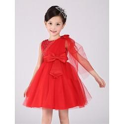 A Line Knee Length Flower Girl Dress Cotton Organza Sleeveless