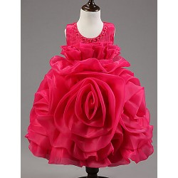 Ball Gown Knee Length Flower Girl Dress Organza Satin Tulle Polyester Sleeveless