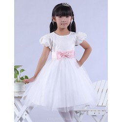 Formal Evening Wedding Party Vacation Dress White A Line Bateau Knee Length Lace Satin Tulle