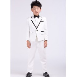 White Satin Ring Bearer Suit 4 Pieces