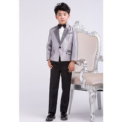 Silver Satin Ring Bearer Suit 4 Pieces