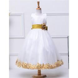 A Line Tea Length Flower Girl Dress Cotton Tulle Polyester Sleeveless