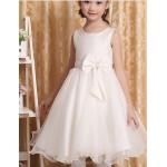 A-line Knee-length Flower Girl Dress - Cotton / Tulle / Polyester Sleeveless Flower Girl Dresses