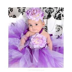2pcs Dress+Handwear A Line Knee Length Flower Girl Dress Tulle Polyester Sleeveless