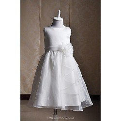 A Line Tea Length Flower Girl Dress Satin Tulle Sleeveless