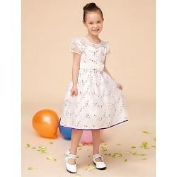 A-line Tea-length Flower Girl Dress - Satin / Tulle Short Sleeve