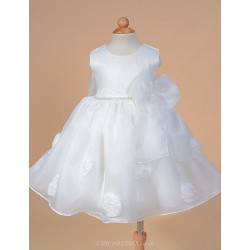 A Line Knee Length Flower Girl Dress Organza Satin Sleeveless