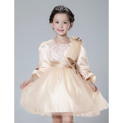 A Line Short Mini Flower Girl Dress Satin Tulle Half Sleeve