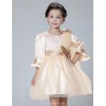 A-line Short/Mini Flower Girl Dress - Satin / Tulle Half Sleeve Flower Girl Dresses