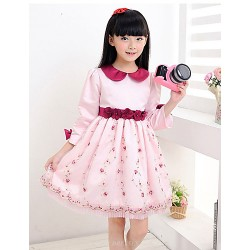 A-line Short/Mini Flower Girl Dress - Organza / Satin 3/4 Length Sleeve