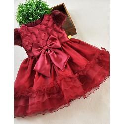 A-line Knee-length Flower Girl Dress - Organza / Satin Short Sleeve