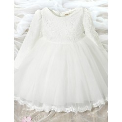 A Line Knee Length Flower Girl Dress Lace Tulle Long Sleeve