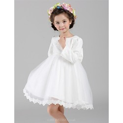 A-line Knee-length Flower Girl Dress - Lace / Organza 3/4 Length Sleeve