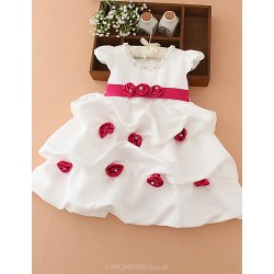 A Line Knee Length Flower Girl Dress Organza Satin Short Sleeve