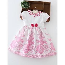 A-line Knee-length Flower Girl Dress - Cotton Short Sleeve