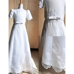 A Line Floor Length Flower Girl Dress Communion Dress Satin Tulle Short Sleeve