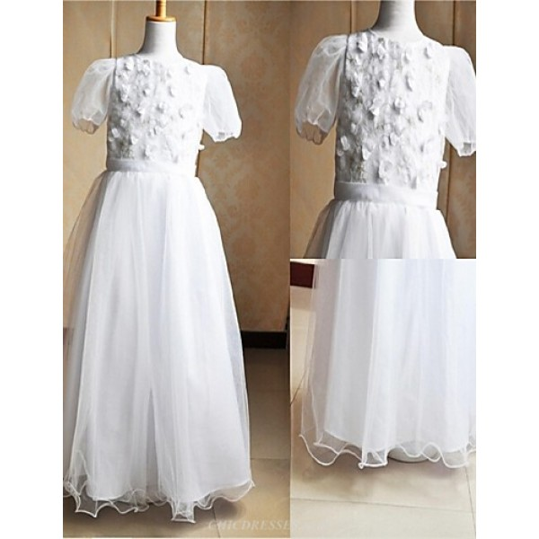 A-line Floor-length Flower Girl Dress/Communion Dress - Satin / Tulle Short Sleeve Flower Girl Dresses