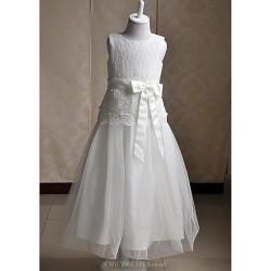 A-line Tea-length Flower Girl Dress - Lace / Satin / Tulle Sleeveless