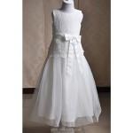 A-line Tea-length Flower Girl Dress - Lace / Satin / Tulle Sleeveless Flower Girl Dresses