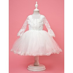 A-line/Ball Gown/Princess Knee-length Flower Girl Dress - Lace/Satin/Tulle Half Sleeve