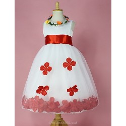 Ball Gown Knee Length Flower Girl Dress Satin Sleeveless
