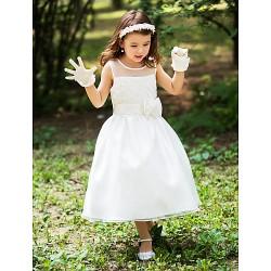 A Line Tea Length Flower Girl Dress Silk