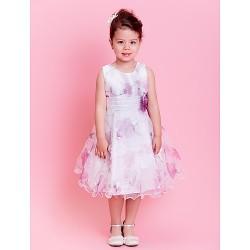 A Line Princess Knee Length Flower Girl Dress Organza Sleeveless