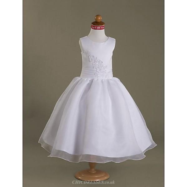 A-line/Princess/Ball Gown Tea-length Flower Girl Dress - Satin/Organza Sleeveless Flower Girl Dresses