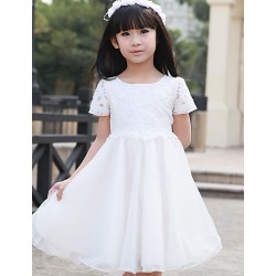 A Line Princess Knee Length Flower Girl Dress Tulle Short Sleeve