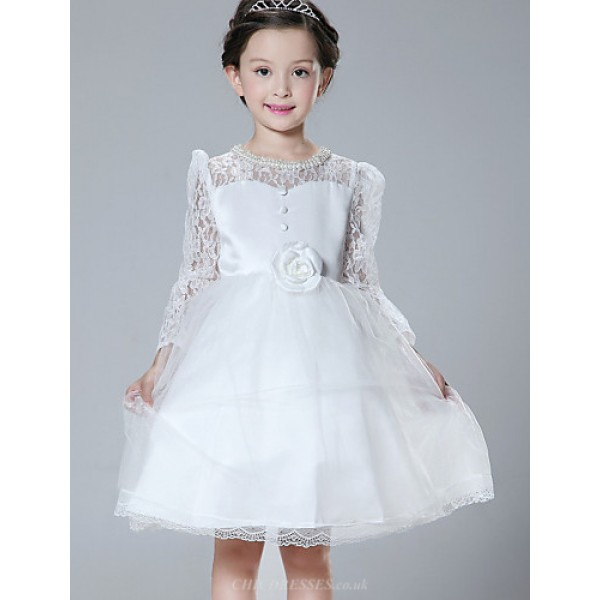 A-line Knee-length Flower Girl Dress - Lace / Tulle / Polyester Long Sleeve Flower Girl Dresses
