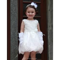 A Line Short Mini Flower Girl Dress Organza Satin Sleeveless