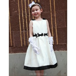 A Line Tea Length Flower Girl Dress Satin Sleeveless