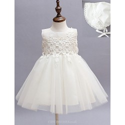 Two Pieces A Line Knee Length Flower Baby Girl Dress Cotton Tulle Polyester Sleeveless