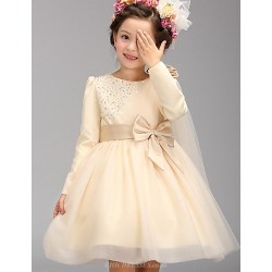 A-line Knee-length Flower Girl Dress - Cotton / Tulle / Polyester Long Sleeve